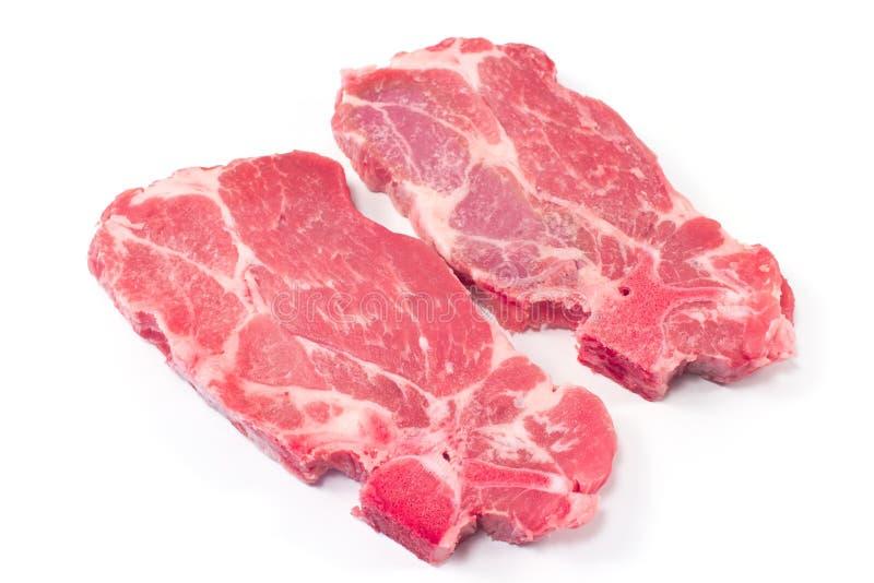 Carne di taglio del collo della carne di maiale immagine stock