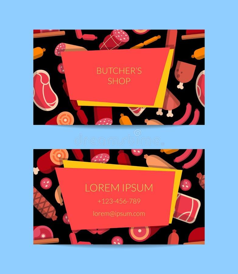 Carne di vettore e biglietto da visita piani delle icone delle salsiccie illustrazione vettoriale