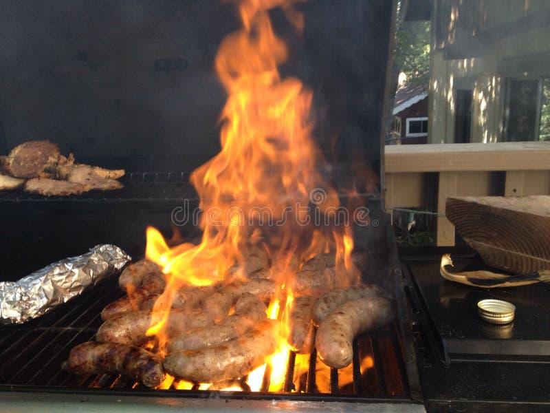 Carne do assado do alimento da salsicha do BBQ fotos de stock