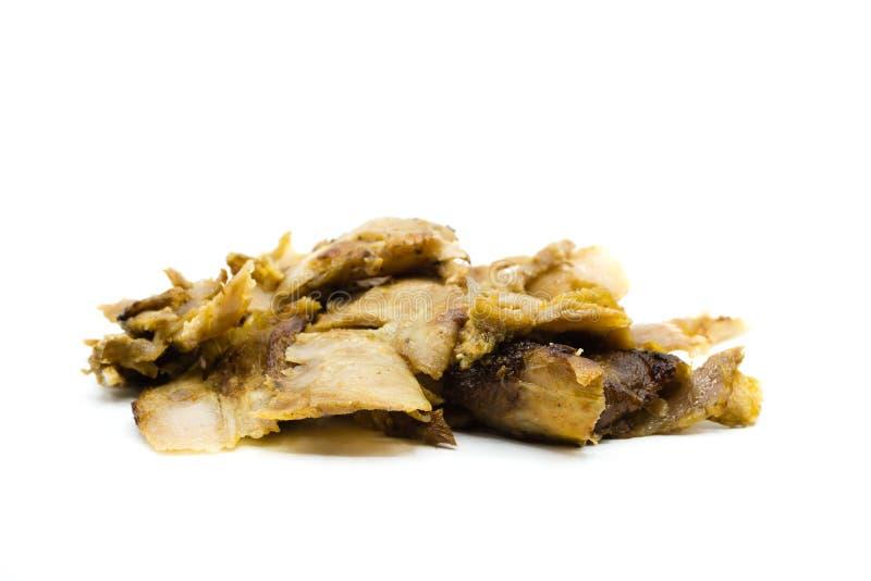 Carne do no espeto de Doner isolada no fundo branco imagens de stock
