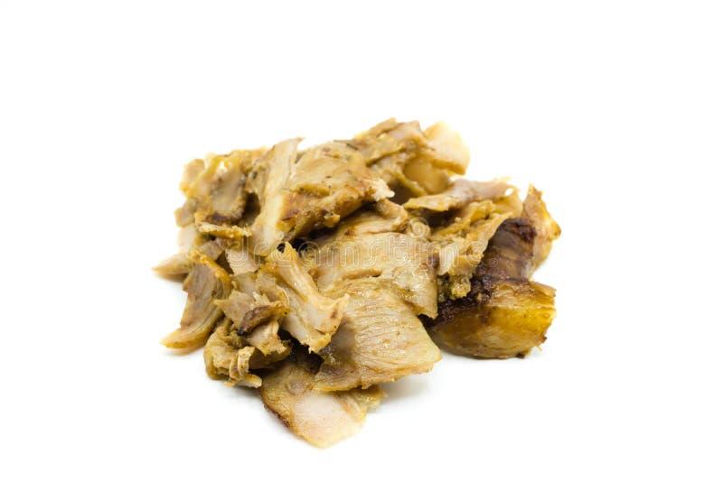Carne do no espeto de Doner isolada no fundo branco foto de stock