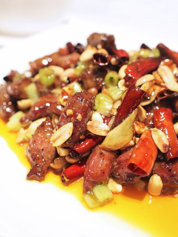 A carne do pao de Kung corta fotografia de stock