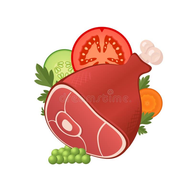 Carne do presunto com vegetais ilustração royalty free