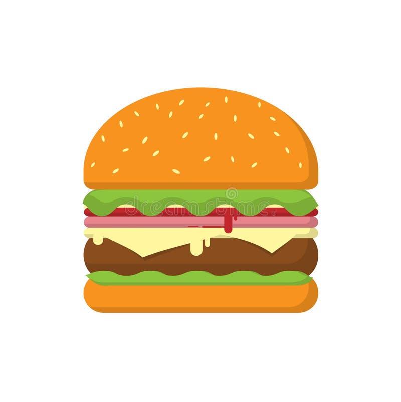 Carne do queijo dobro do Hamburger, tomate da salada e presunto brancos ilustração stock