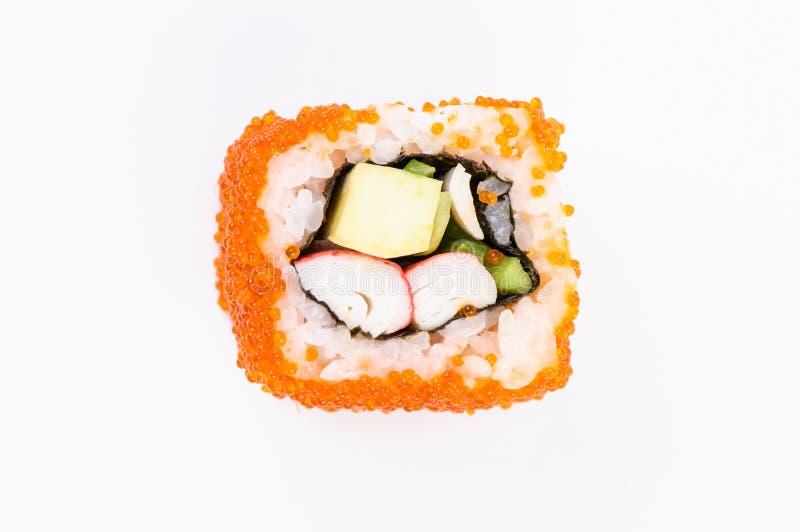 carne do Sushi-caranguejo, abacate e caviar vermelho. Vista superior imagens de stock royalty free