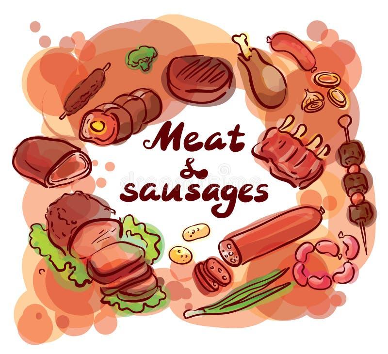 Carne e rotulação ajustada salsichas ilustração royalty free