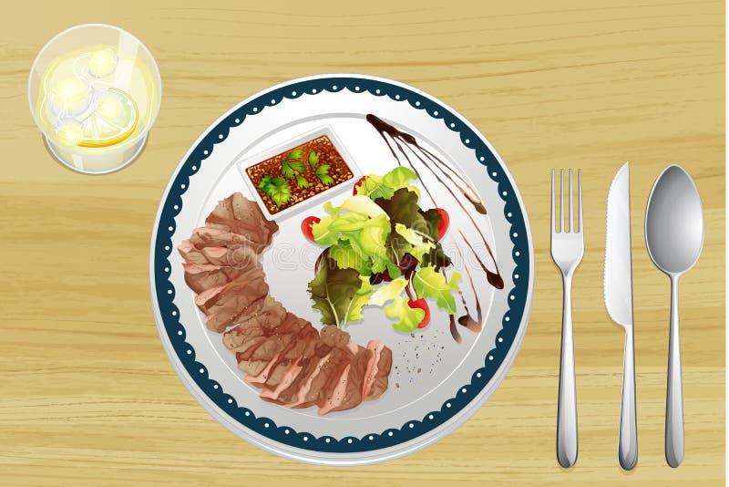 Carne e salada ilustração royalty free