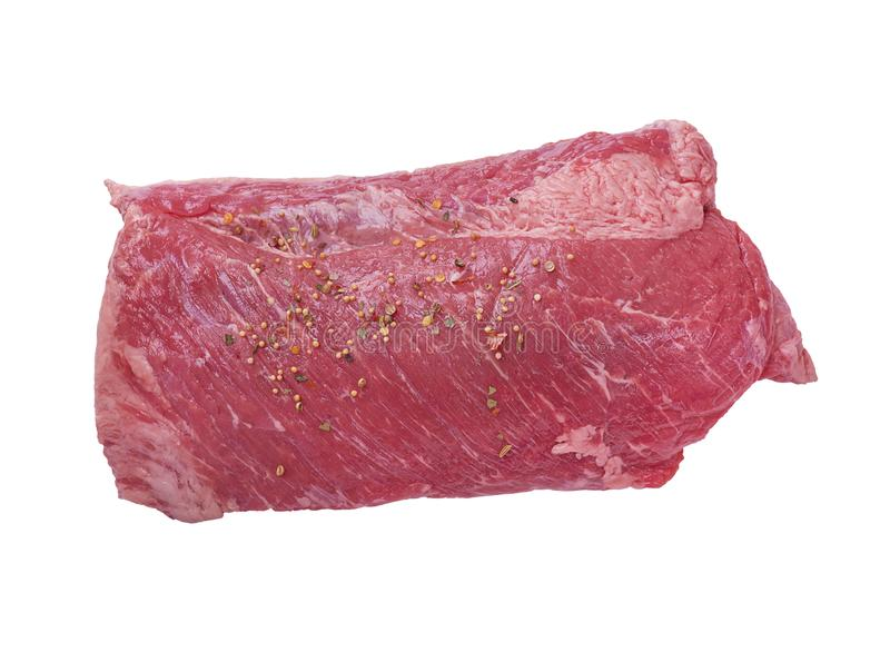 Carne en lata aislada en el fondo blanco fotografía de archivo