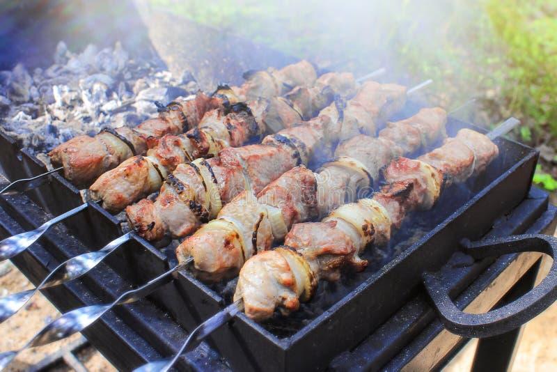 Carne en los pinchos asados sobre los carbones Comida campestre en naturaleza Preparaci?n de un kebab foto de archivo libre de regalías