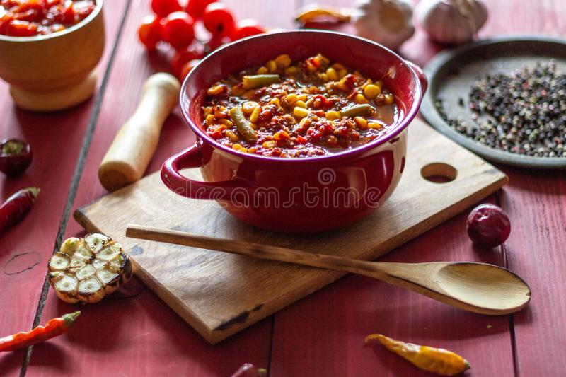 Carne et ingr?dients d'escroquerie du Chili pour lui Cuisine mexicaine photos libres de droits