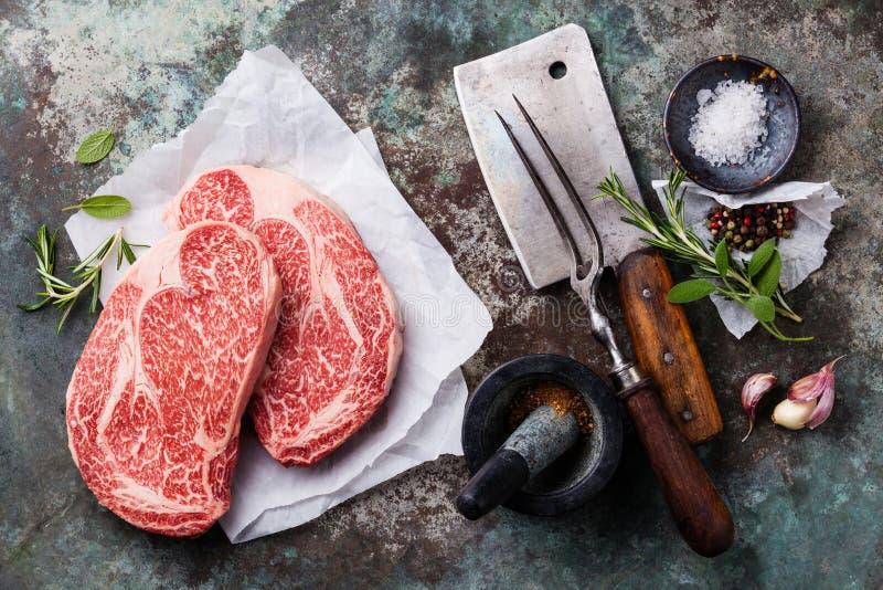 Carne fresca cruda Angus Steak fotos de archivo libres de regalías