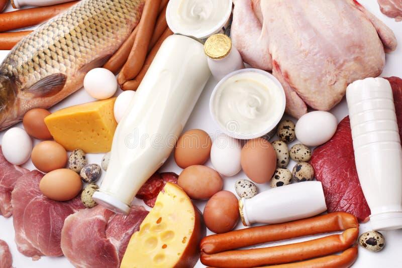 Carne fresca e produtos lácteos imagem de stock