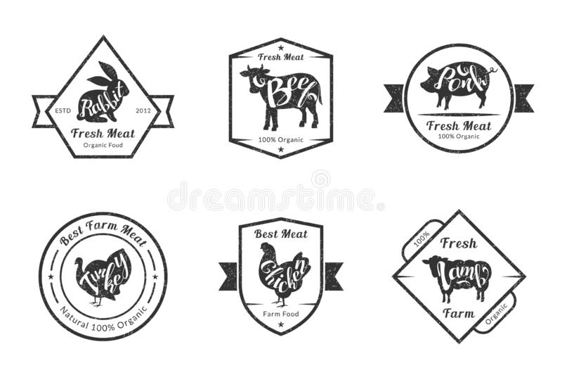 Carne fresca orgânica, gado retro Logo Templates Set da qualidade superior, crachás para o açougue, loja de carne, empacotando ou ilustração do vetor