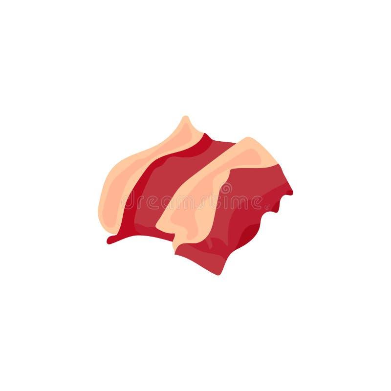 Carne, fresca, pedazos, icono crudo, crudo del color Elemento del ejemplo de las piezas de la carne de la carne de vaca Icono sup ilustración del vector
