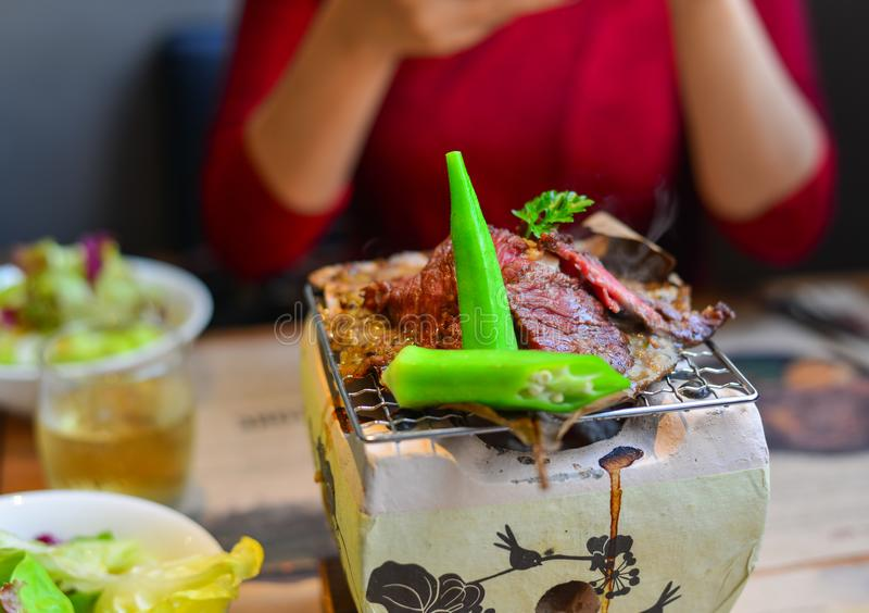 Carne fumado tradicional do wagyu do assado fotos de stock royalty free