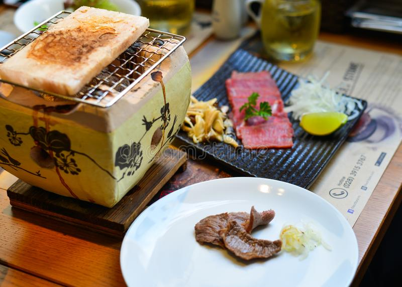 Carne fumado tradicional do wagyu do assado imagens de stock