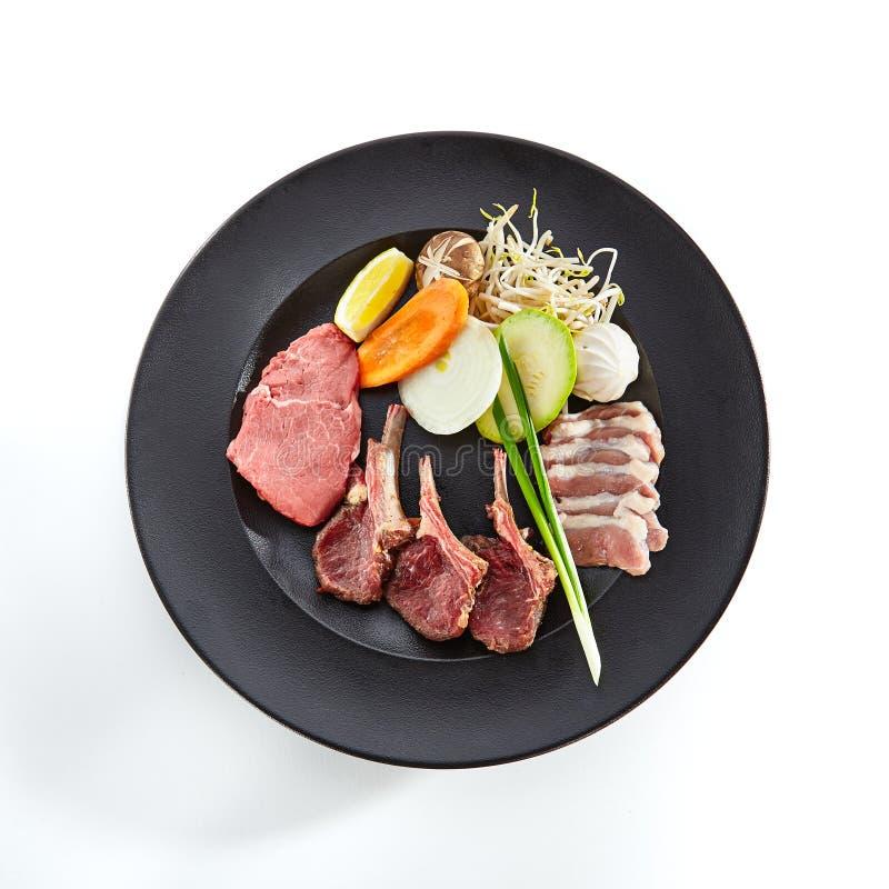 Carne japonesa y coreana de Teppanyaki de la parrilla fotos de archivo