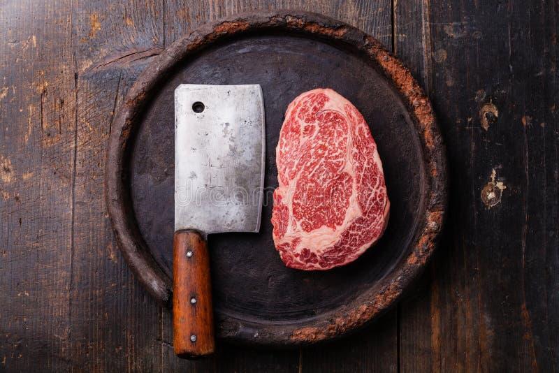 Carne marmoreada fresca crua Angus Steak Ribeye fotos de stock