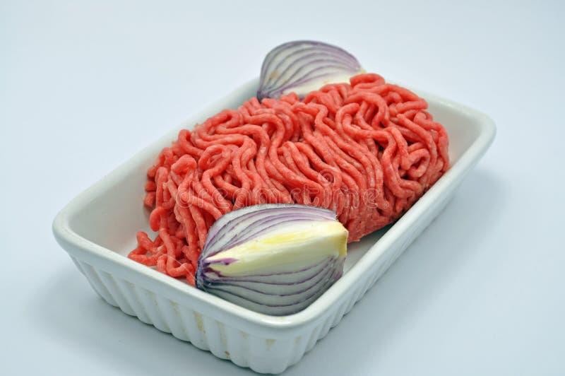 Carne moída com cebolas fotografia de stock