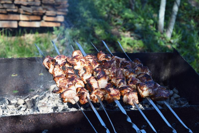 Carne-no espeto grelhado foto de stock royalty free