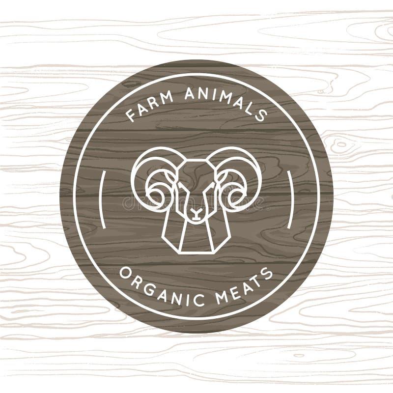 Carne o animal del campo orgánica - logotipo del vector hecho en un estilo linear stock de ilustración