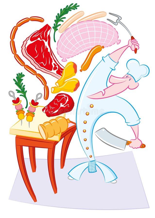 Carne Pazza Del Briciolo Del Cuoco Illustrazione Vettoriale
