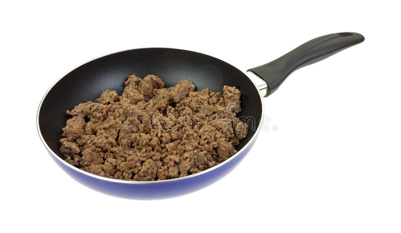 Carne picada em Pan Cooked Side View fotografia de stock