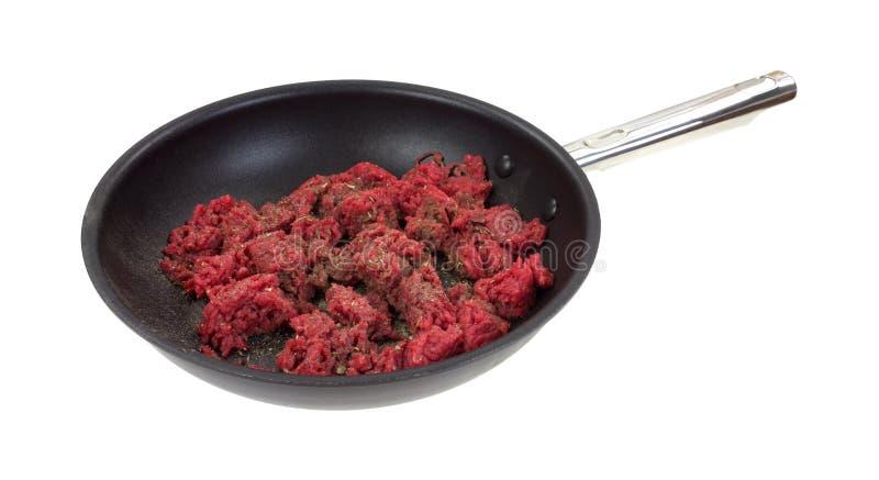 Carne picada em Pan Raw Side View imagens de stock