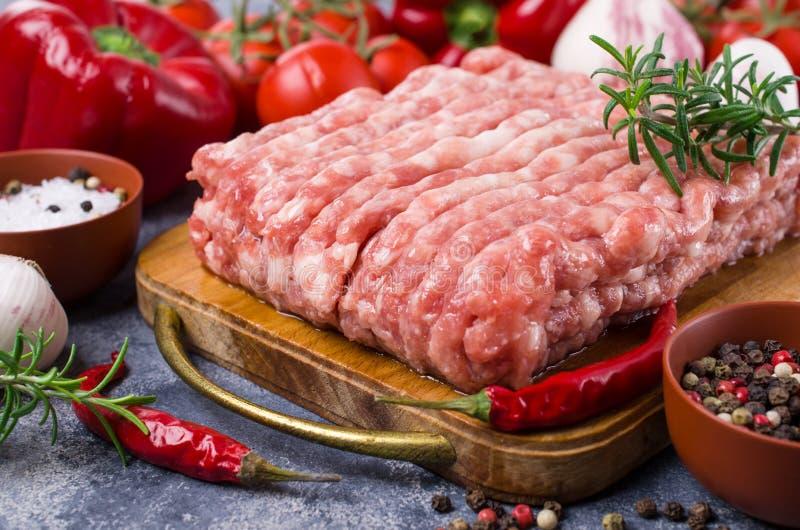 Carne picadita sin procesar fotografía de archivo libre de regalías