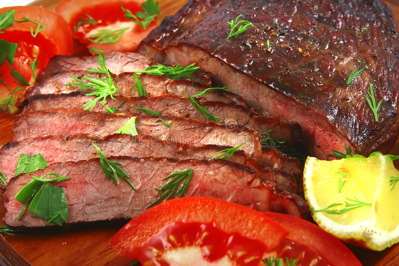 Carne rebanada Bbq de la carne asada foto de archivo