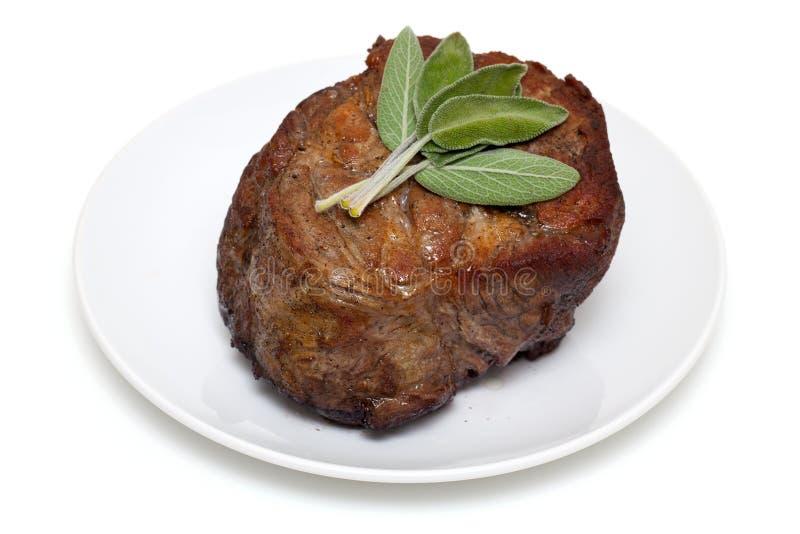 Carne recentemente coocked com sábio imagem de stock
