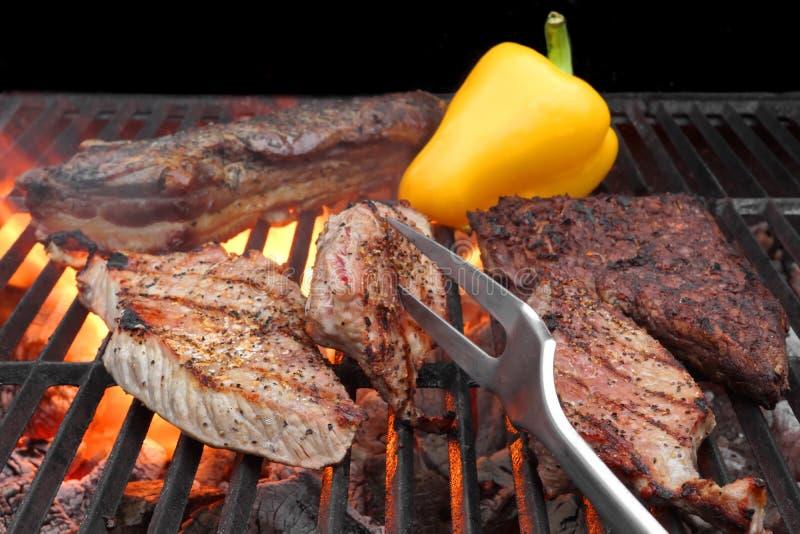 Carne Roasted misturada na grade do BBQ imagem de stock