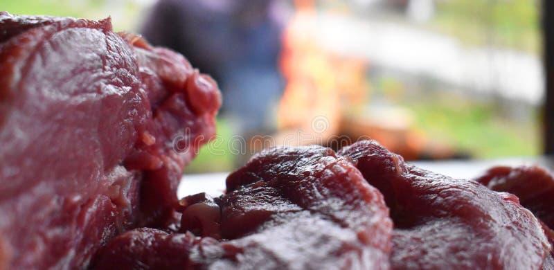 Carne roja cruda fresca en la tabla de madera lista para ser cocinado en la parrilla al aire libre del fuego Barbacoa en el jard? fotografía de archivo libre de regalías