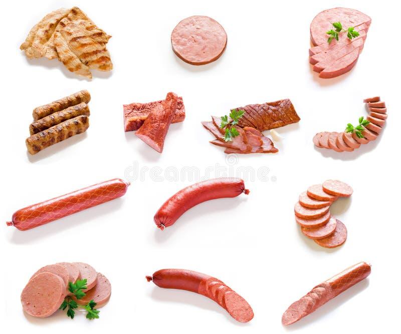 Carne, Salami & coleção de Saulsage imagens de stock