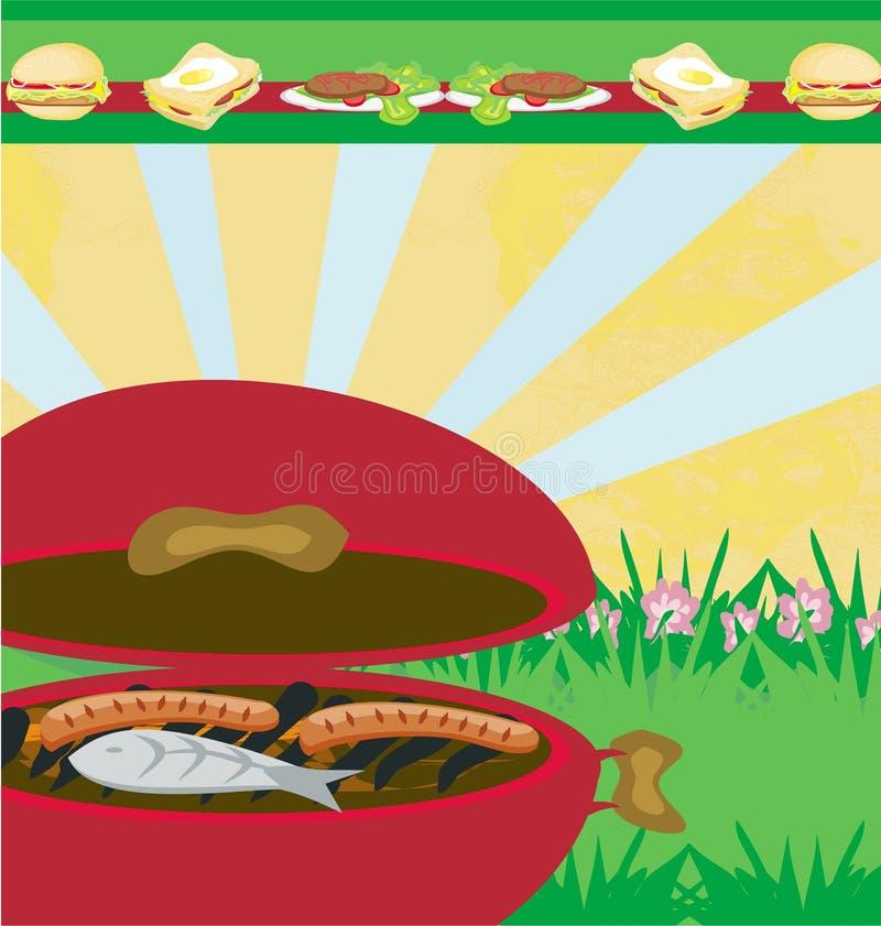 Carne saporita sulla griglia - arrostisca col barbecue l'invito del partito illustrazione di stock