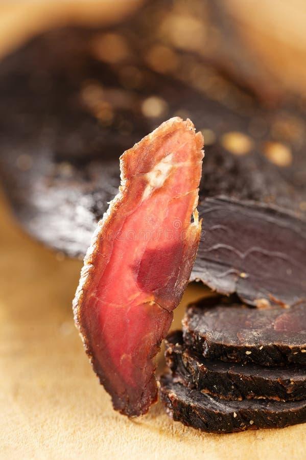 Carne secca - asciughi la carne curata del manzo fotografia stock libera da diritti