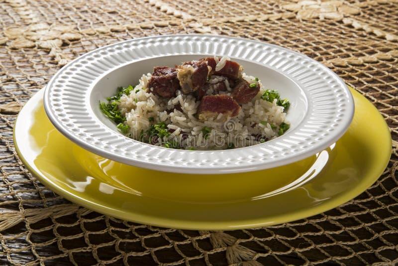 Carne secca con riso - alimento tradizionale della Bahia fotografia stock