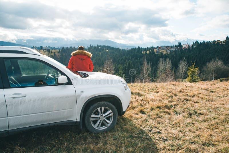 Carne sem gordura do homem no carro que olha a vista bonita das montanhas fora do conceito da estrada imagens de stock