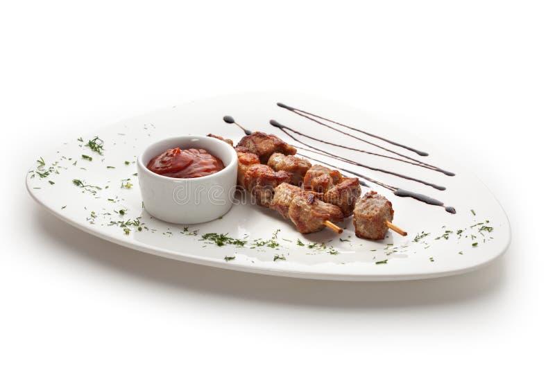Carne Skewered imagens de stock