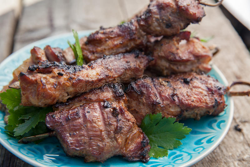 Carne suina arrostita dello shashlik o di kebab sugli spiedi fotografia stock libera da diritti