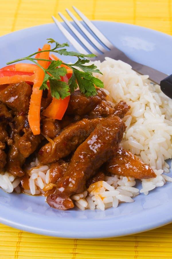 Carne suina asiatica di stile con riso fotografie stock libere da diritti