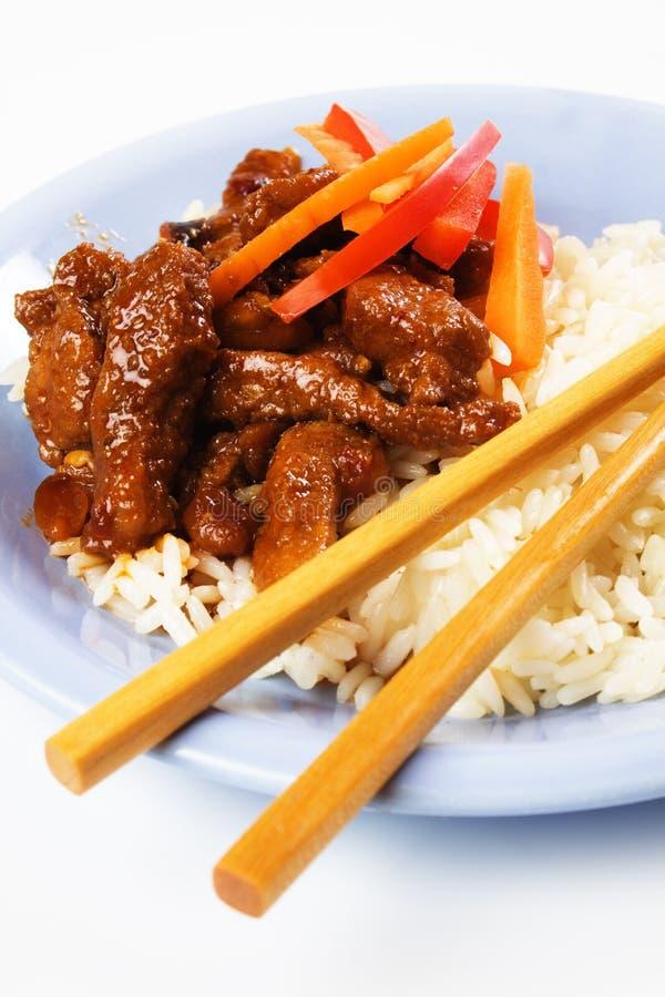 Carne suina cinese con riso fotografia stock