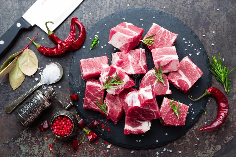 Carne suina fresca Carne suina affettata cruda Collo della carne di maiale immagine stock