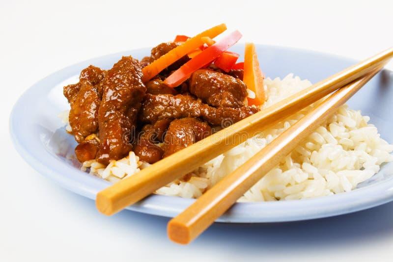 Carne suina lustrata miele con riso fotografia stock libera da diritti
