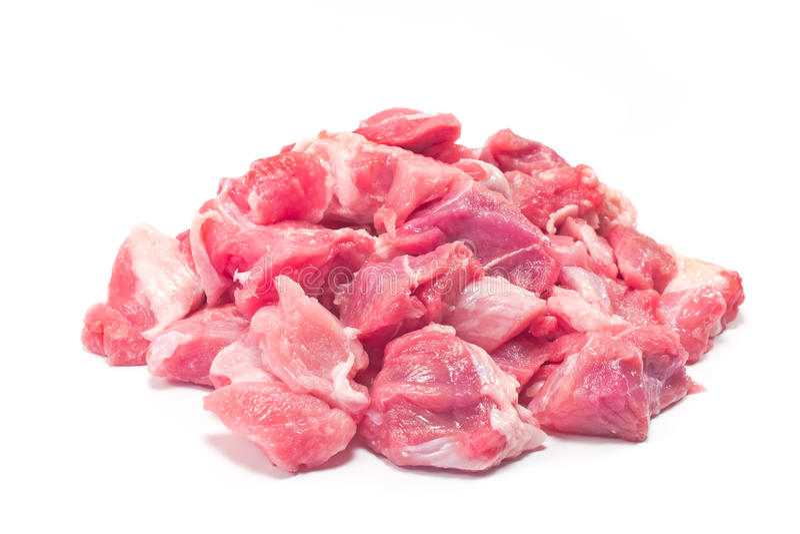 Carne suina tagliata per goulash immagine stock