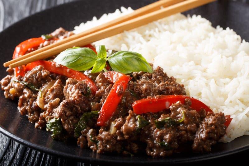A carne tailandesa da manjericão no molho picante serviu com close-up do arroz em uma placa horizontal fotografia de stock