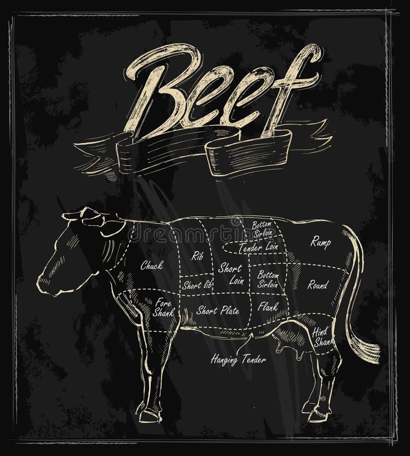 Carne tirada mão do vetor ilustração do vetor