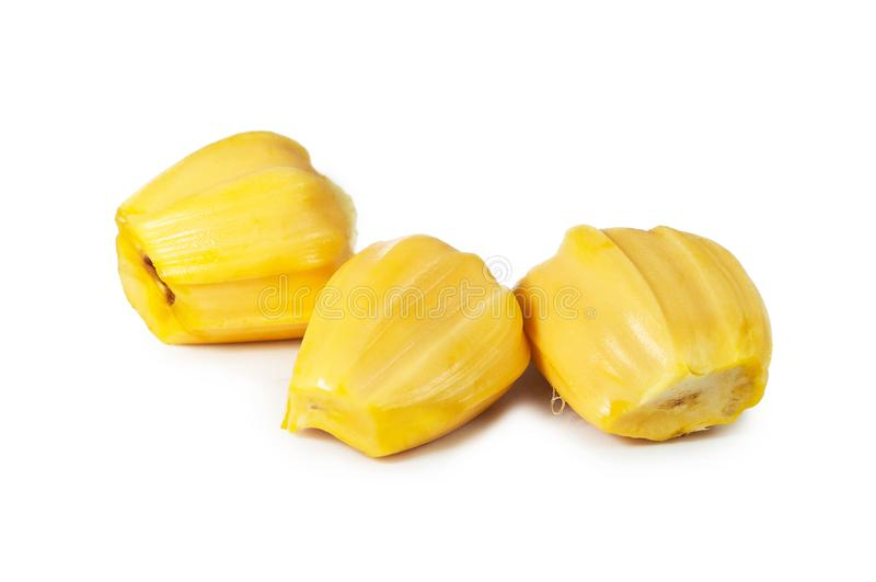 Carne três deliciosa fresca do jackfruit isolada no branco limpo fotografia de stock royalty free