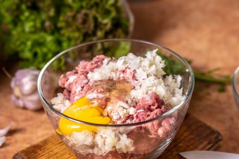 Carne triturada com cebola desbastada e o ovo cru em uma placa de vidro foto de stock royalty free