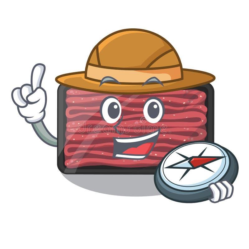 Carne triturada explorador no refrigerador dos desenhos animados ilustração royalty free